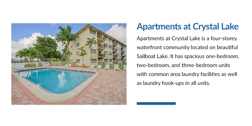 Apartments at Crystal Lake is a four-storey waterfront community located on beautiful Sailboat Lake. It has spacious one-bedroom, two-bedroom, and three-bedroom units with common area laundry facilities as well as laundry hook-ups in all units.